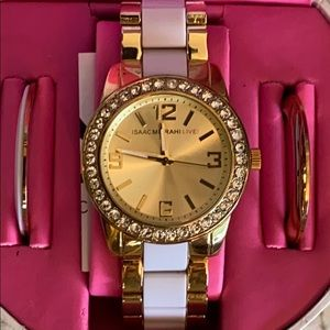 ISAAC MIZRAAH LIVE LARGE GOLD FACE GOLD & WHITE